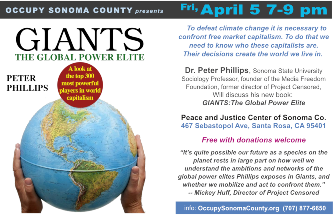 Giants teach-in; April 5 at 7 pm; Peace & Justice Center, Santa Rosa